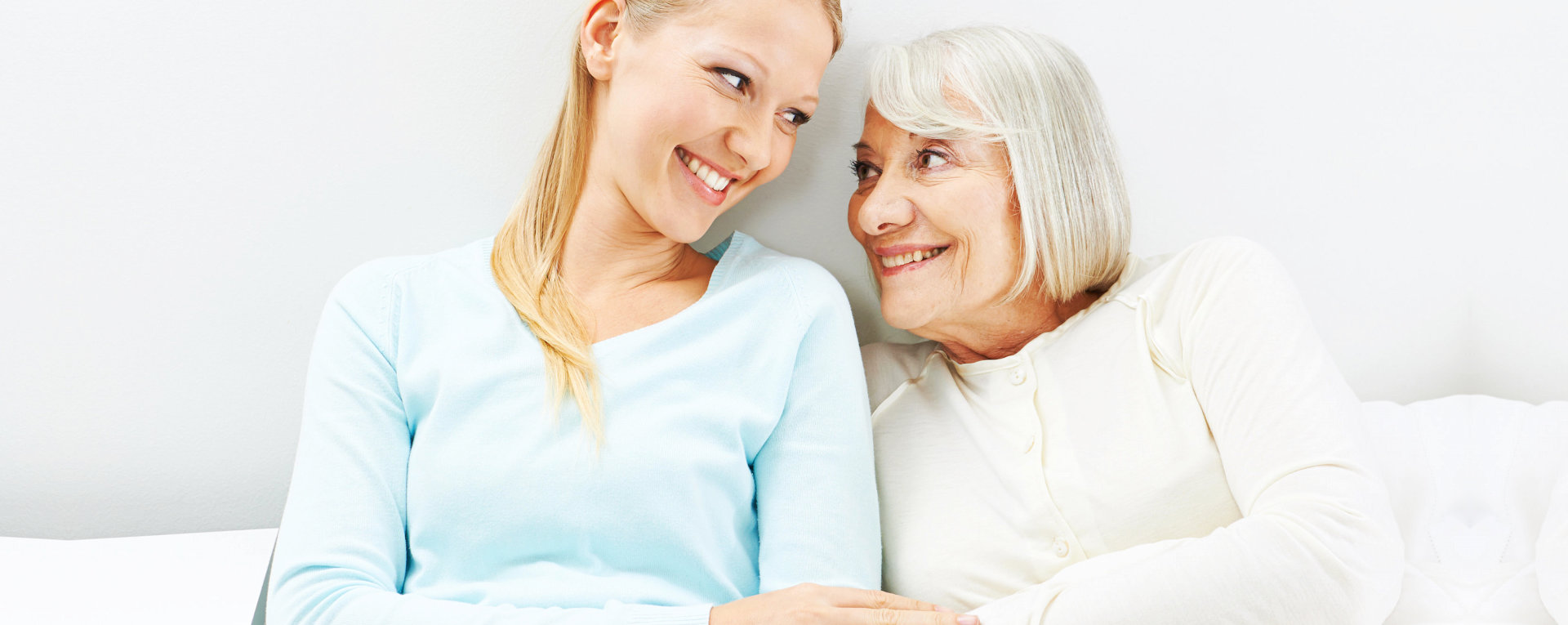 happy caregiver and patient